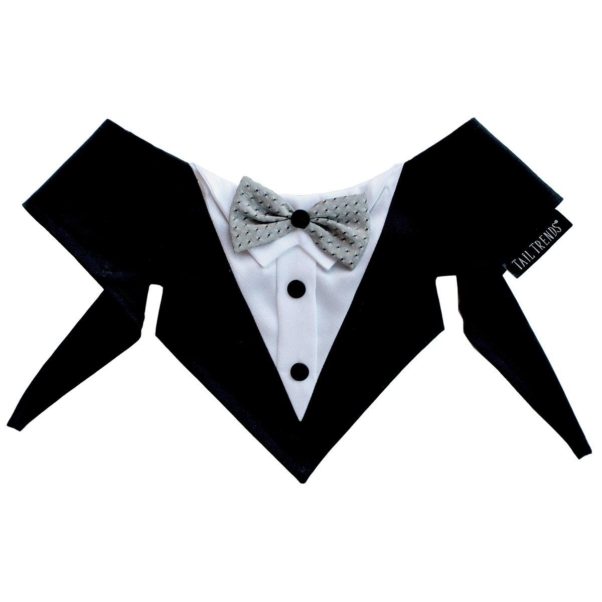 Tail Trends Formal Tuxedo Dog Bandana, Dracula, Large