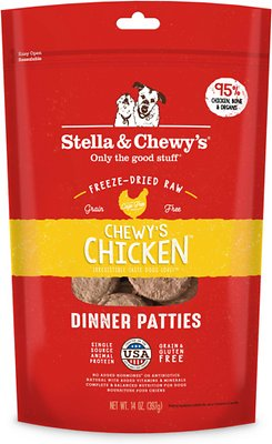 Stella & Chewy's Chewy's Chicken Dinner Patties Grain-Free Freeze-Dried Dog Food, 14-oz bag Weights: 14ounces, Size: 14-oz bag