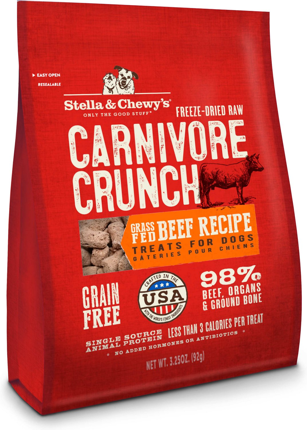 Stella & Chewy's Carnivore Crunch Grass-Fed Beef Recipe Freeze-Dried Dog Treats, 3.25-oz bag