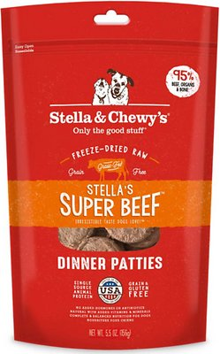 Stella & Chewy's Stella's Super Beef Dinner Patties Grain-Free Freeze-Dried Dog Food, 5.5-oz bag