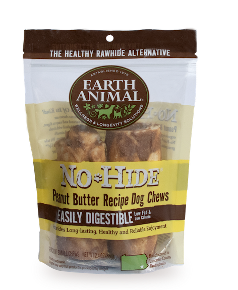 Earth Animal No-Hide Peanut Butter Chew Dog Treat, 4-in, 2-pack
