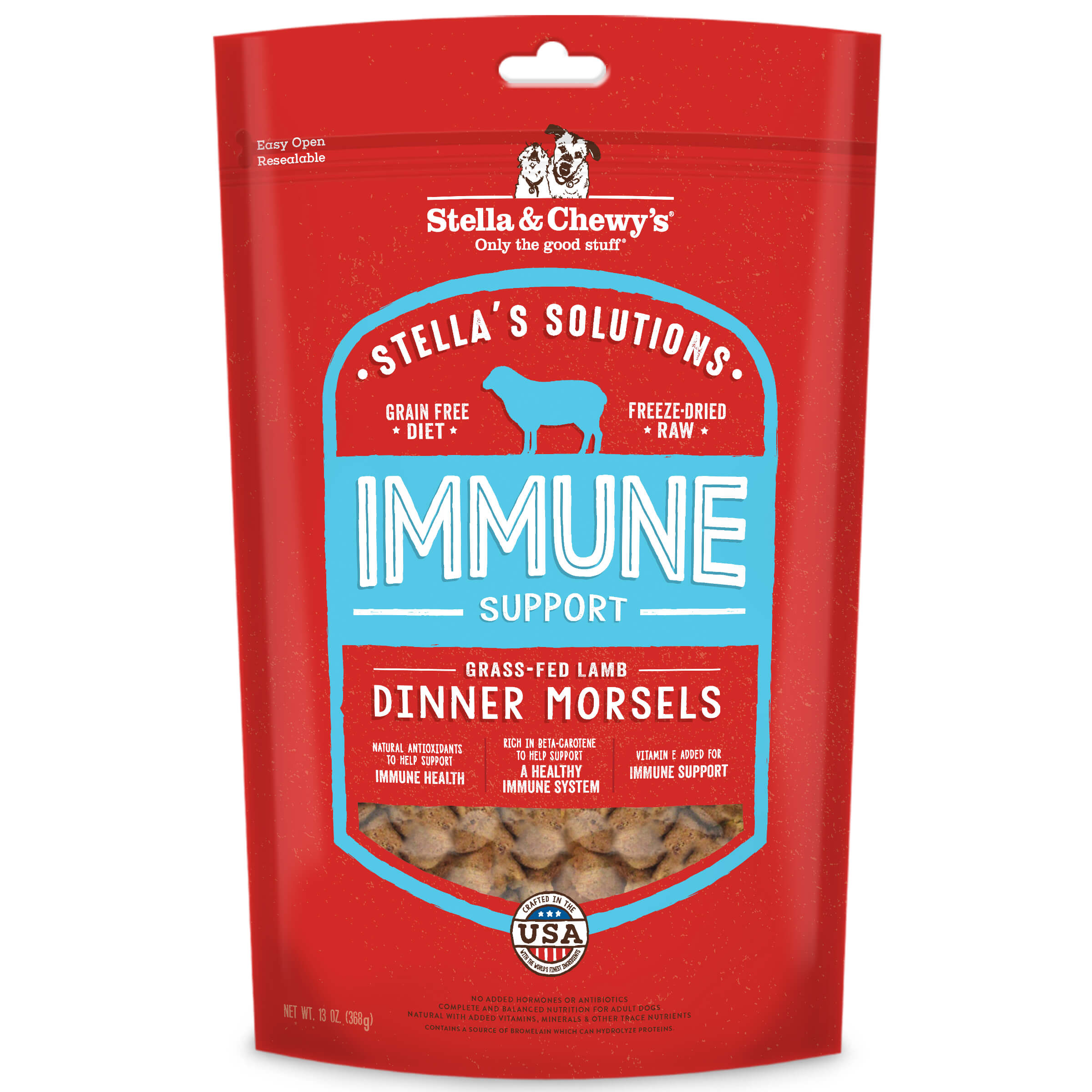 Stella & Chewy's Immune Support Freeze Dried Dog Food, Grass Fed Lamb, 13-oz bag