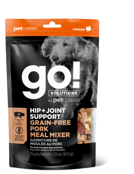 Go! By Petcurean Hip and Joint Support Grain-Free Pork Meal Mixer Freeze-Dried Dog Food Topper, 3.5-oz bag