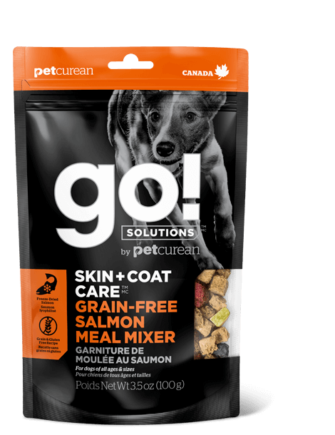 Go! By Petcurean Skin and Coat Care Grain-Free Salmon Meal Mixer Freeze-Dried Dog Food Topper, 3.5-oz bag