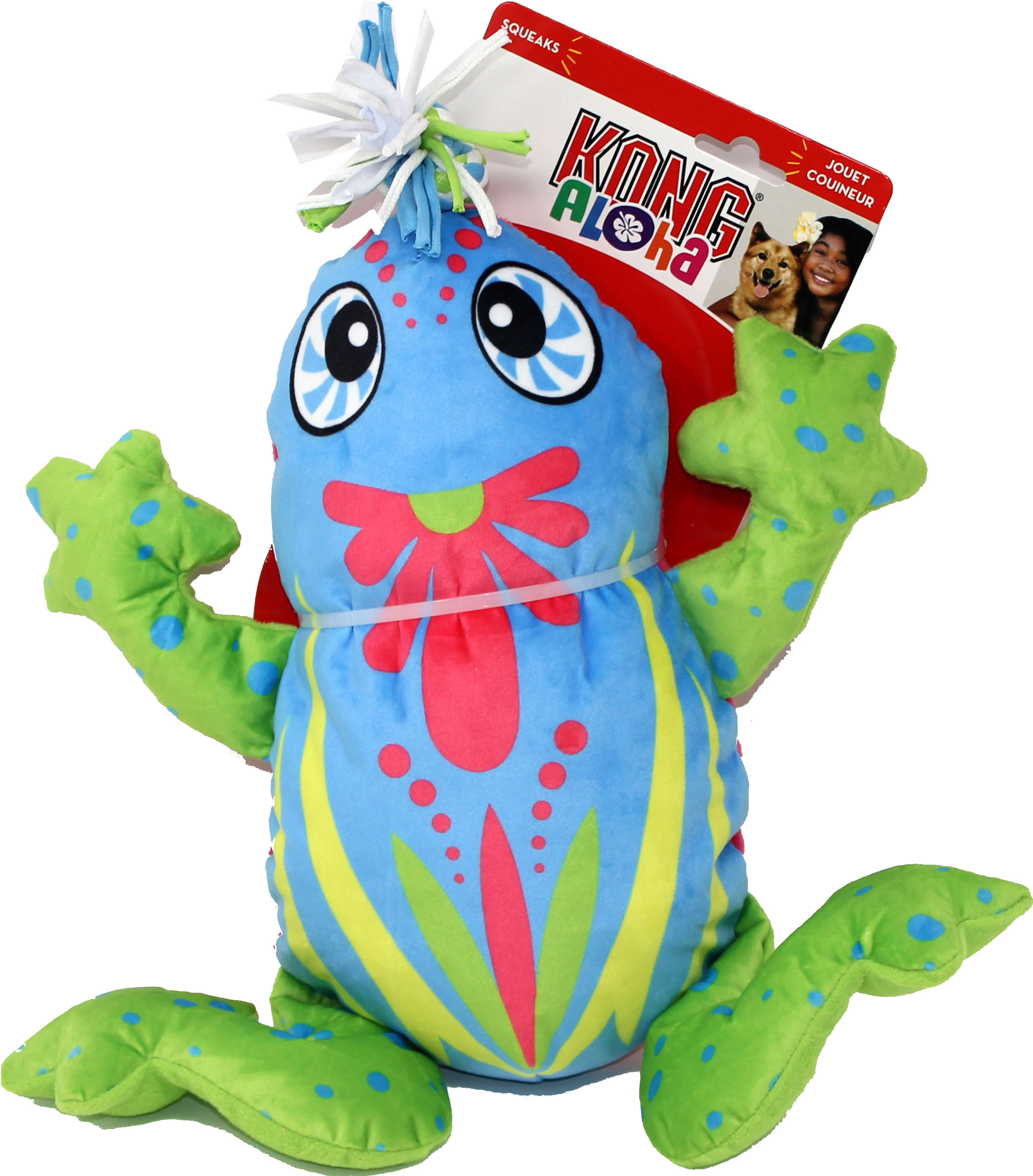 KONG Aloha Frog Tug Dog Toy, Blue, Small/Medium