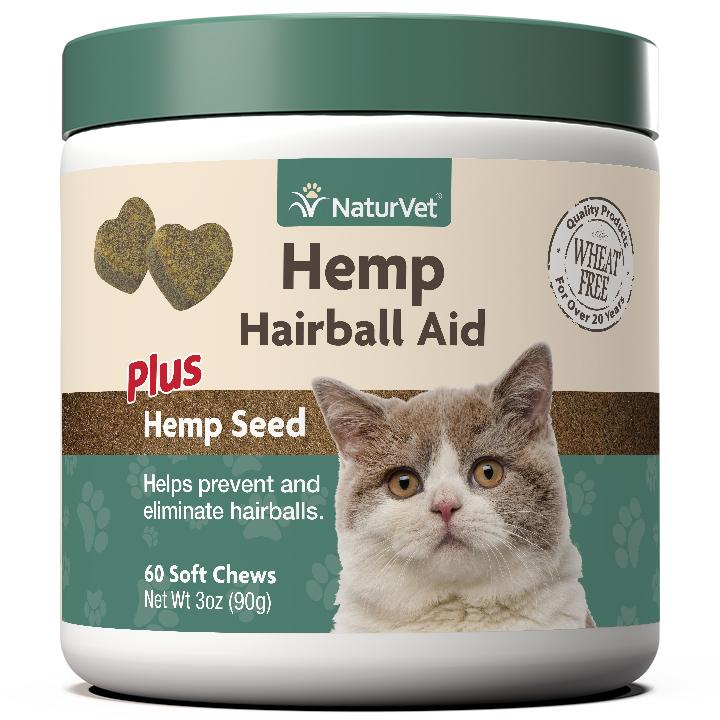 Naturvet Hemp Hairball Aid Soft Chews for Cats