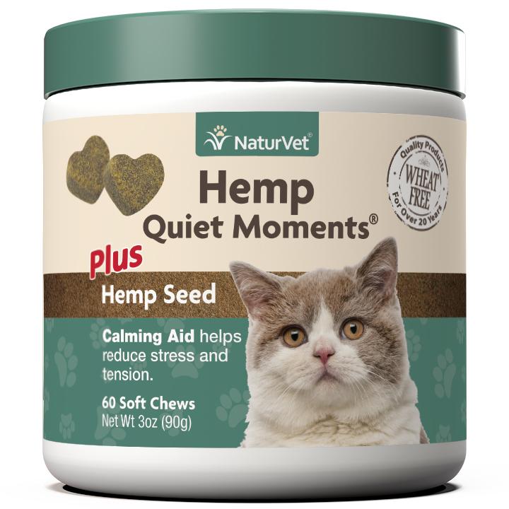 Naturvet Hemp Quiet Moments Calming Aid Soft Chews for Cats, 60-count