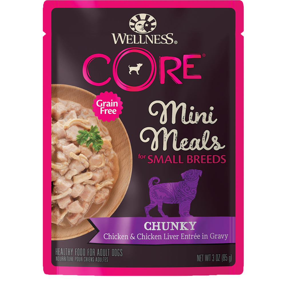 Wellness Core Small Breed Mini Meals Wet Dog Food, Chunky Chicken & Chicken Liver, 3-oz
