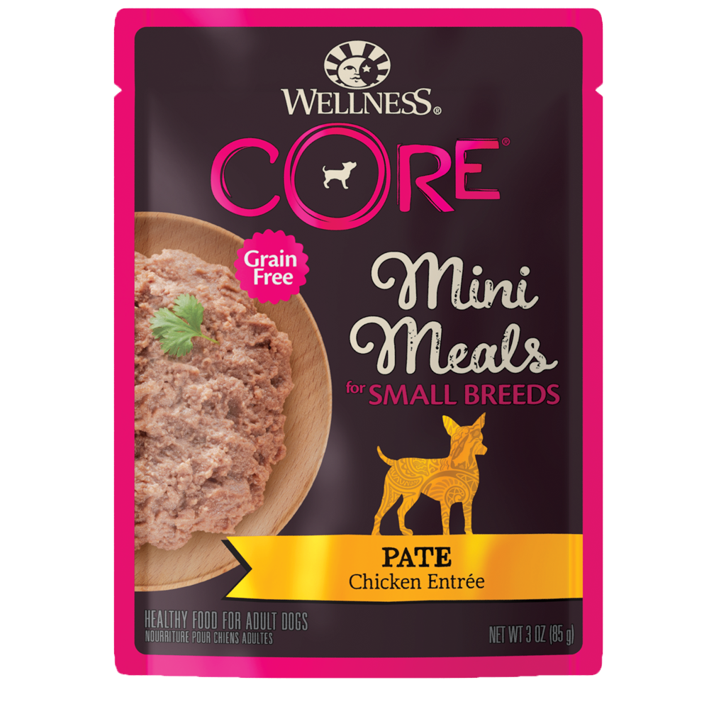 Wellness Core Small Breed Mini Meals Wet Dog Food, Pate Chicken Entrée, 3-oz