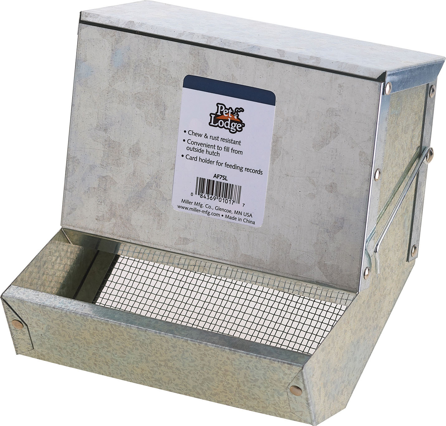 Miller Pet Lodge Metal Feeder With Sifter Bottom & Lid for Small Animals, 7-in