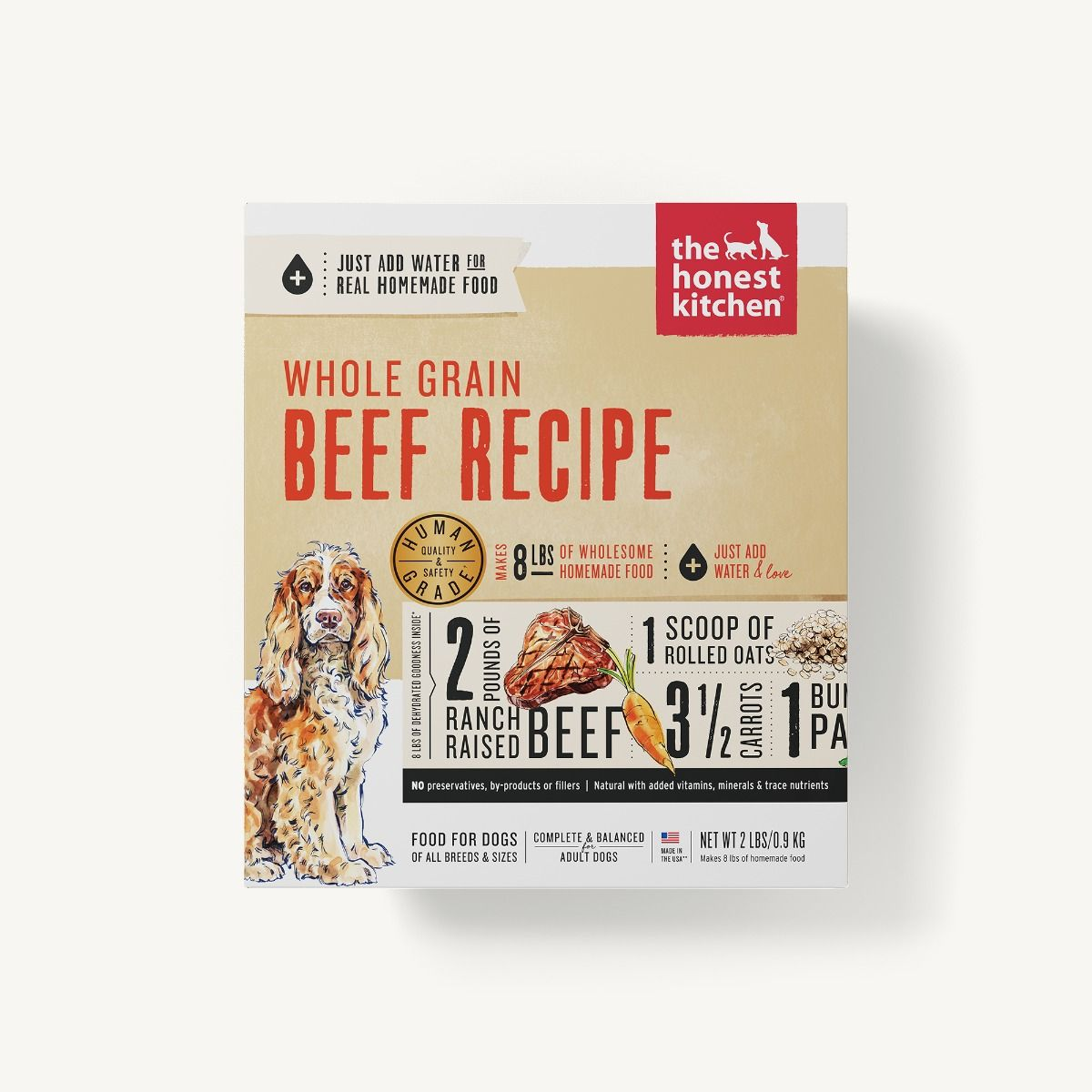 Honest Kitchen Whole Grain Dehydrated Dog Food, Verve, Beef Recipe, 2-lb box