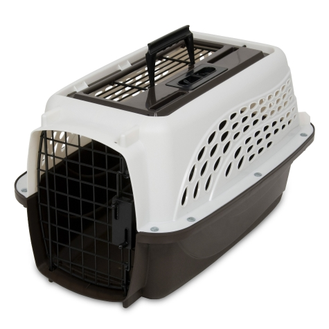 Petmate 2 Door Top Load Kennel, Pearl White/Coffee Grounds, 19-in