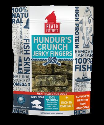 Plato Pet Treats Hundur's Crunch Fish Jerky Fingers Dog Treats, 10-oz bag