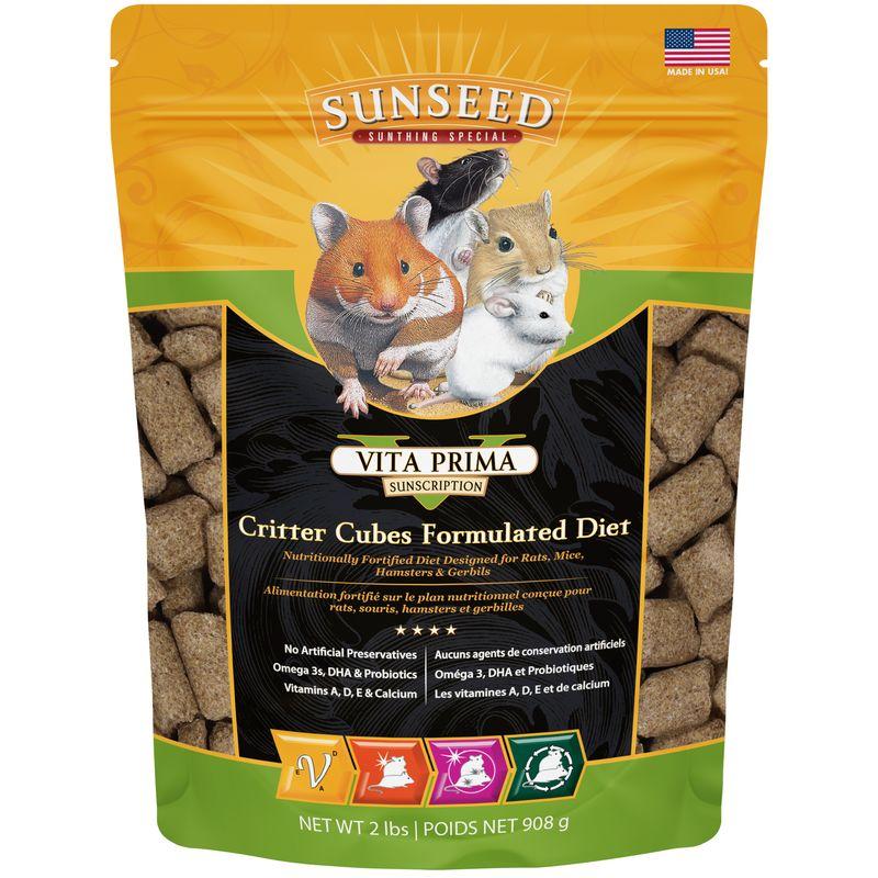 Sunseed Vita Prima Critter Cubes Small Pet Food, 2-lb bag