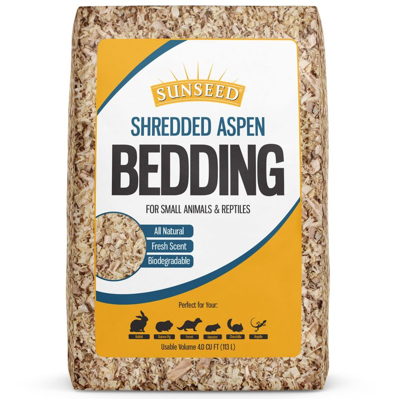Sunseed Shredded Aspen Bedding For Small Animals & Reptiles, 2500 cu