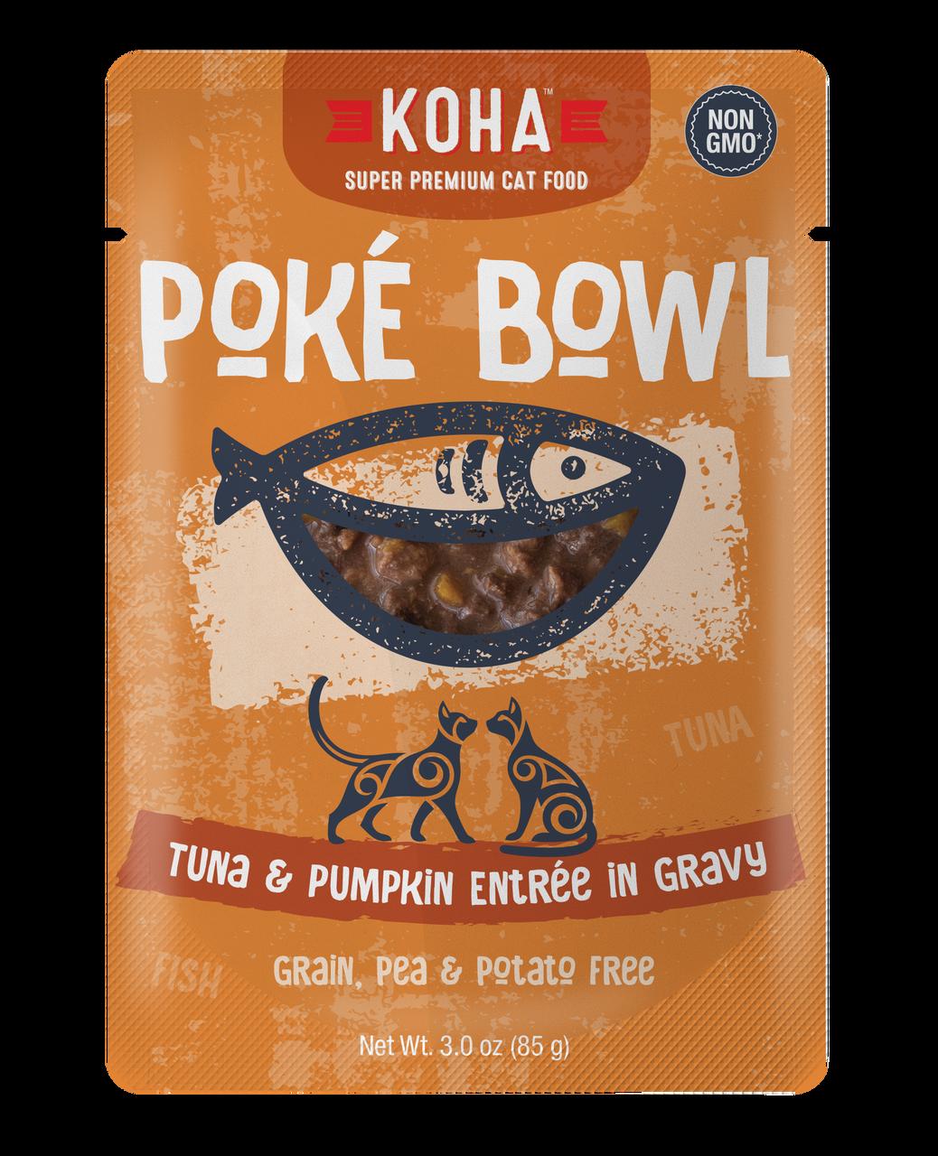 Koha Poke Bowl Tuna & Pumpkin Entrée in Gravy Wet Cat Food, 3-oz pouch, case of 12
