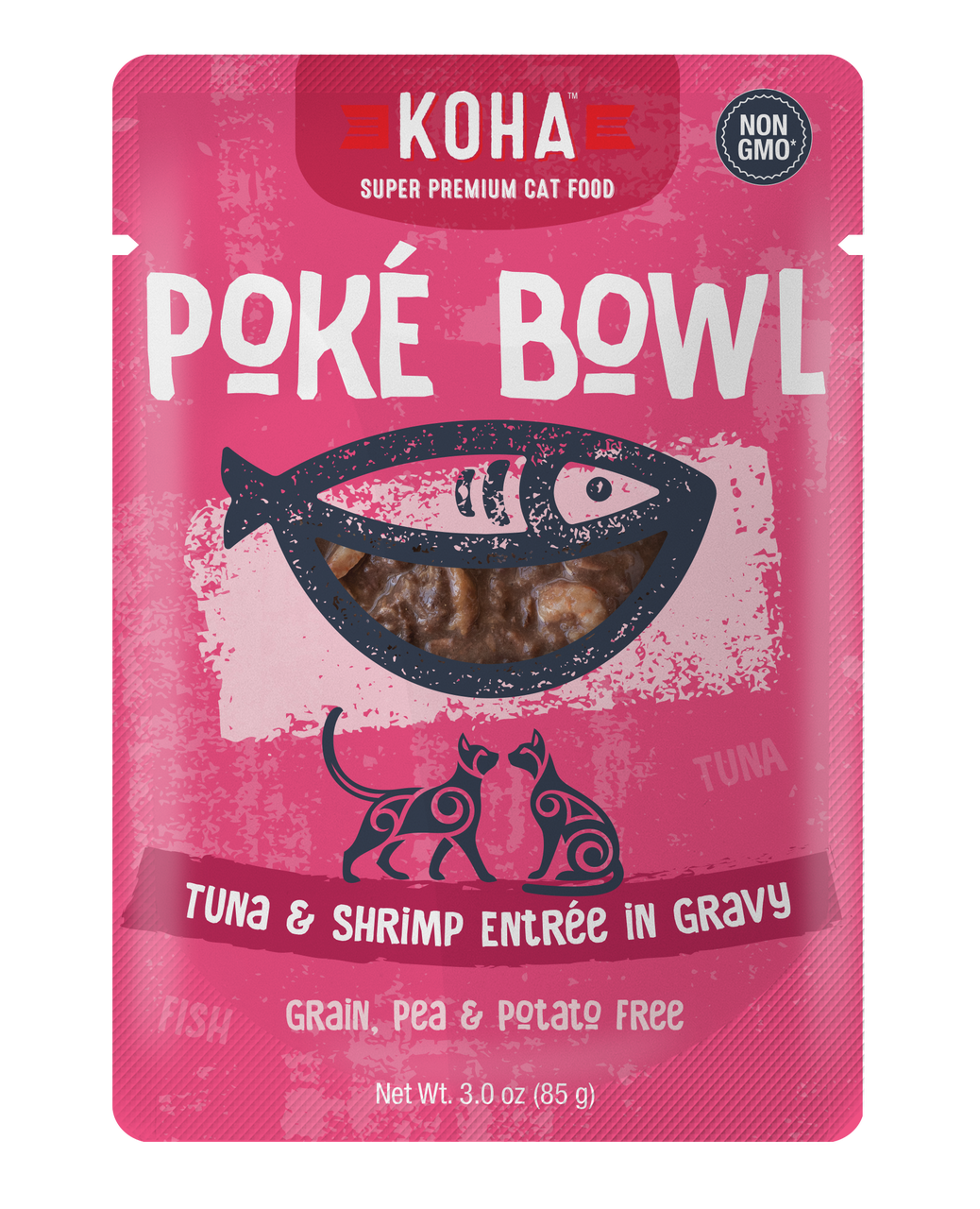 Koha Poke Bowl Tuna & Shrimp Entrée in Gravy Wet Cat Food, 3-oz pouch