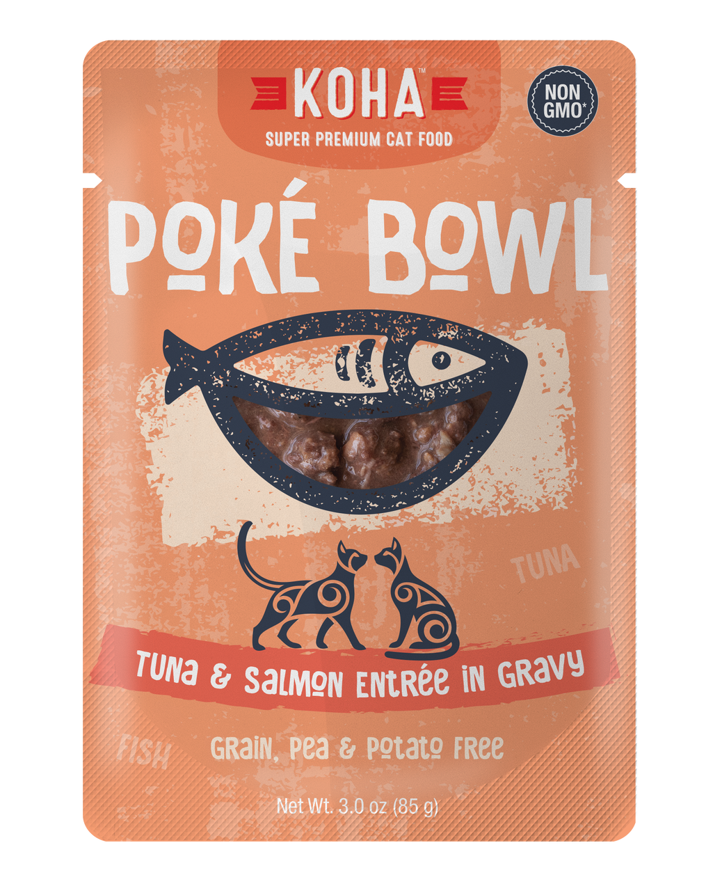 Koha Poke Bowl Tuna & Salmon Entrée in Gravy Wet Cat Food, 3-oz pouch, case of 24