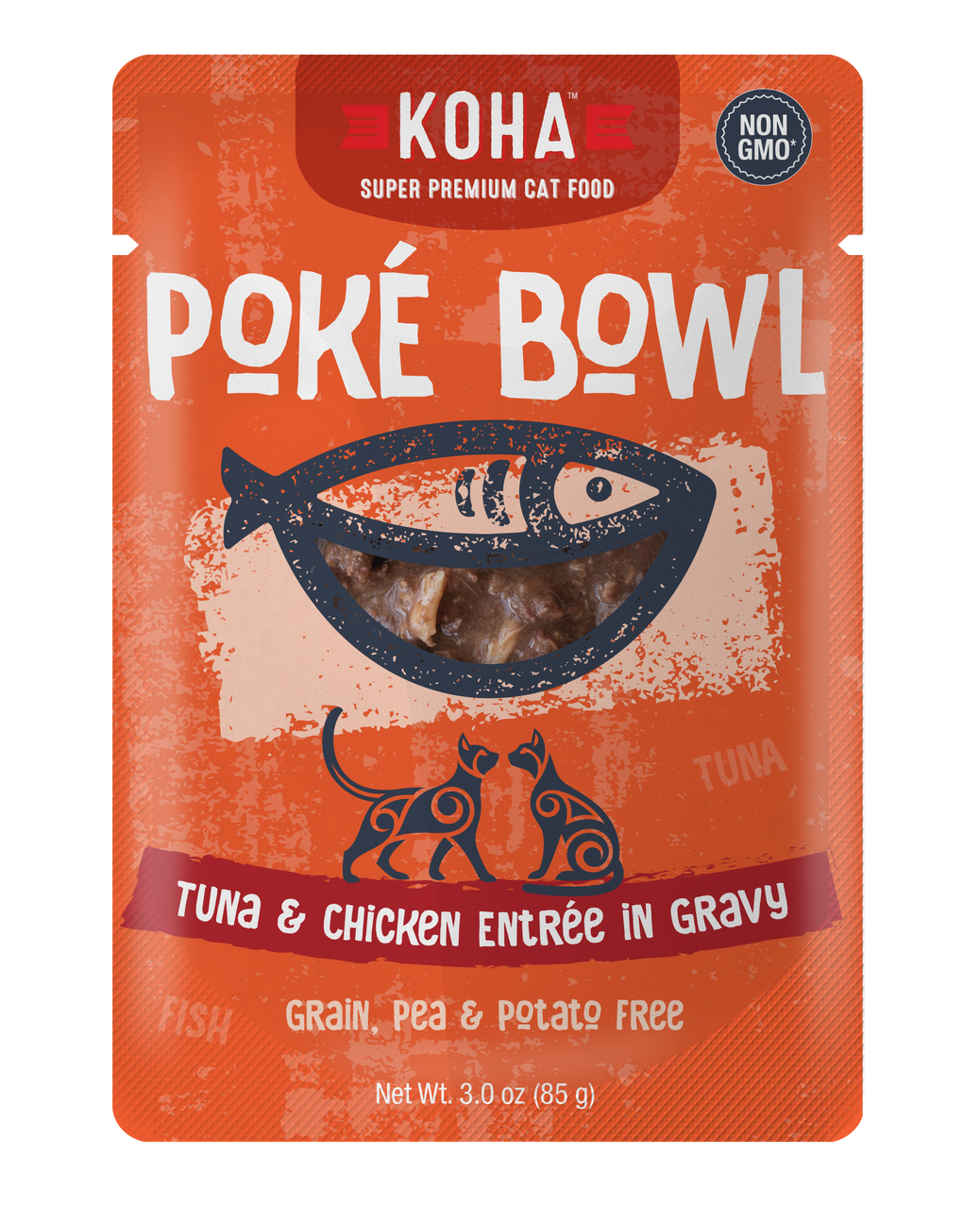 Koha Poke Bowl Tuna & Chicken Entrée in Gravy Wet Cat Food, 3-oz pouch