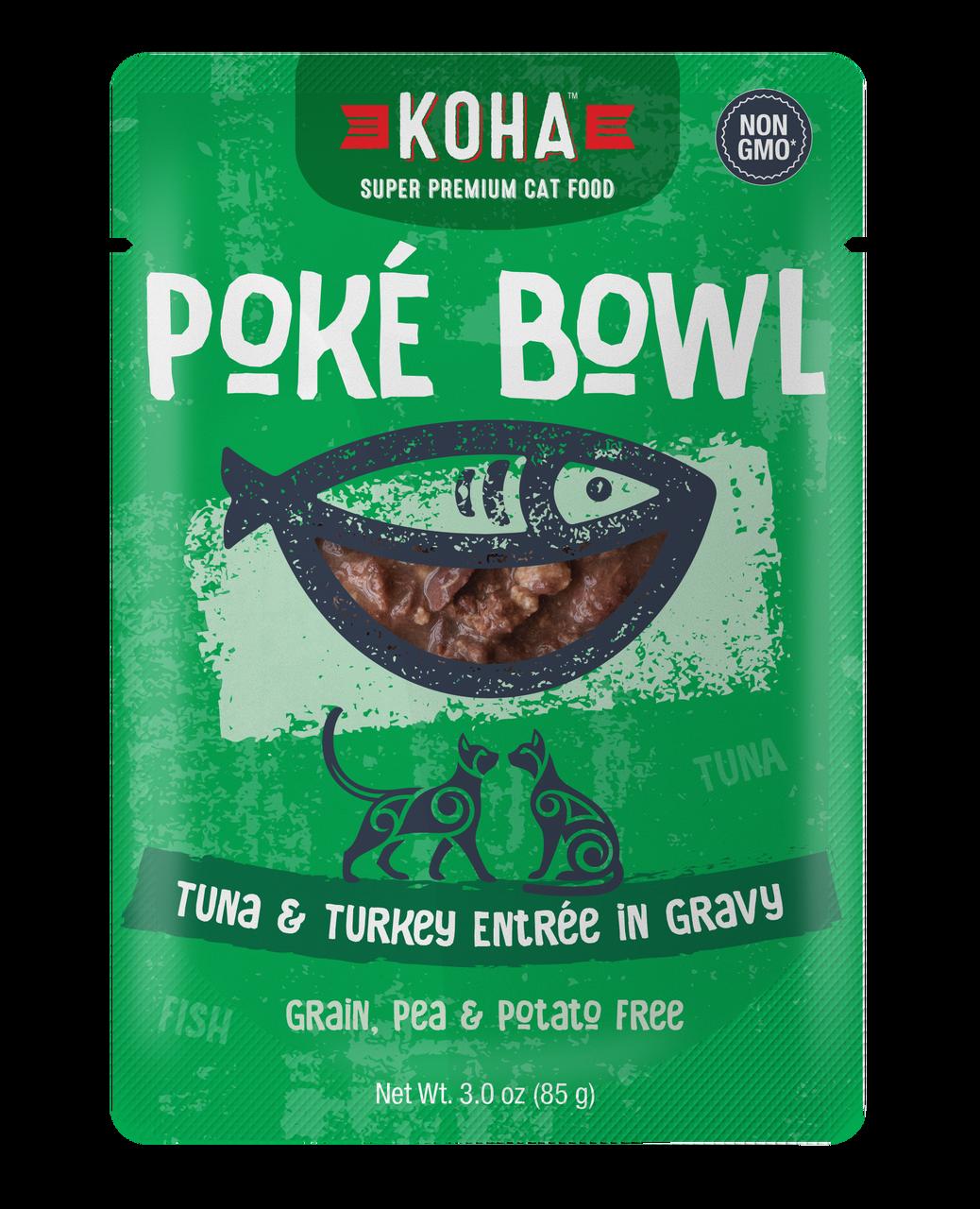 Koha Poke Bowl Tuna & Turkey Entrée in Gravy Wet Cat Food, 3-oz pouch, case of 12