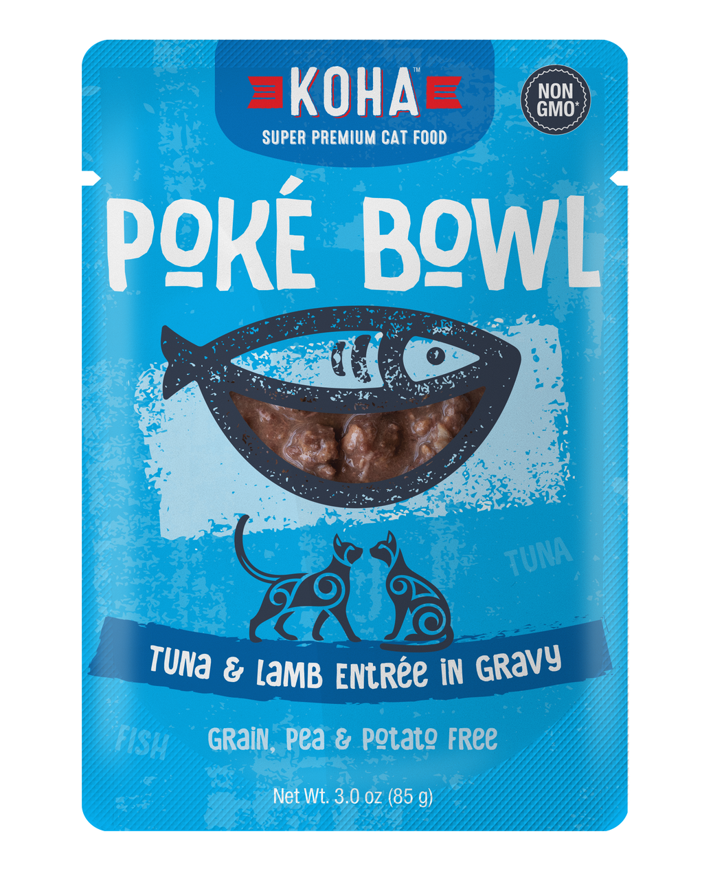 Koha Poke Bowl Tuna & Lamb Enree in Gravy Wet Cat Food, 3-oz pouch, case of 24