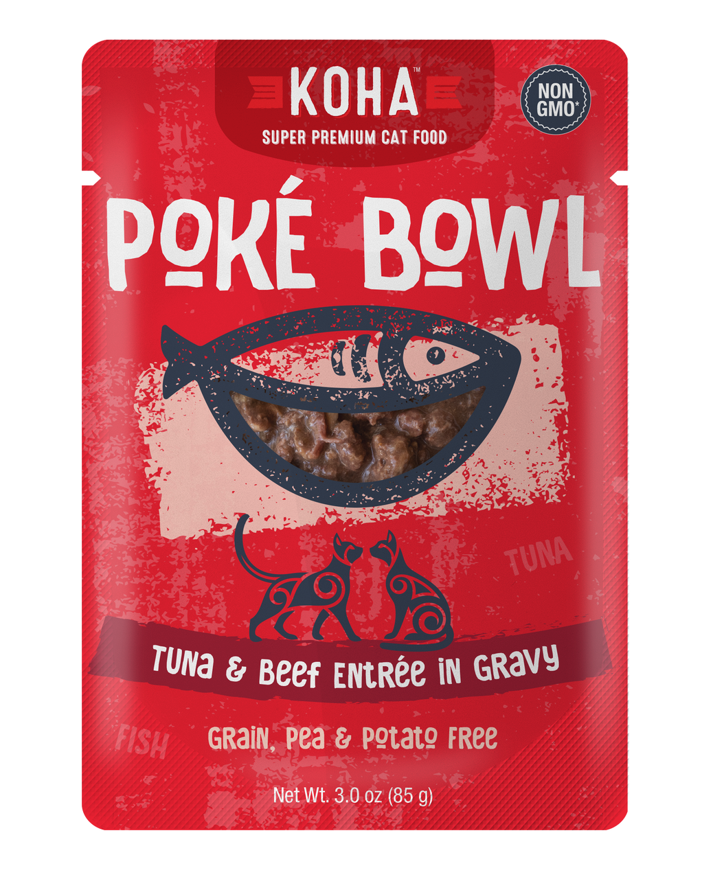 Koha Poke Bowl Tuna & Beef Entrée in Gravy Wet Cat Food, 3-oz pouch