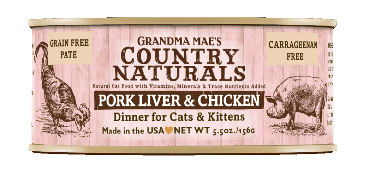 Grandma Mae's Country Naturals Grain-Free Pork Liver & Chicken Dinner Wet Cat Food, 5.5-oz, case of 24
