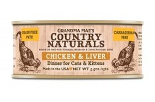 Grandma Mae's Country Naturals Grain-Free Chicken & Liver Dinner Wet Cat Food, 5.5-oz, case of 24