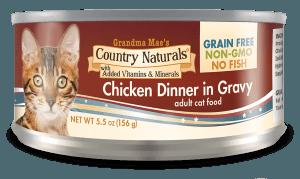 Grandma Mae's Country Naturals Grain-Free Chicken Dinner in Gravy Wet Cat Food, 5.5-oz, case of 24