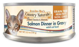 Grandma Mae's Country Naturals Grain-Free Salmon Dinner in Gravy Wet Cat Food, 5.5-oz, case of 24