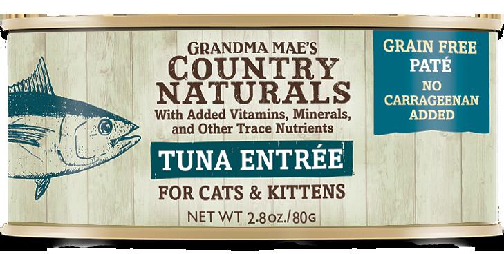 Grandma Mae's Country Naturals Tuna Entrée Grain-Free Pate Wet Cat Food, 2.8-oz