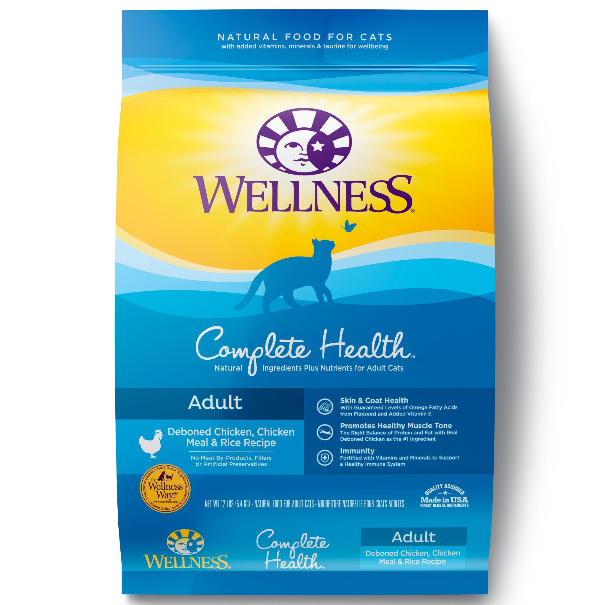 Wellness Complete Health Adult Deboned Chicken, Chicken Meal, & Rice Recipe Dry Cat Food, 12-lb bag