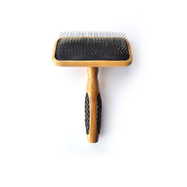 Bass Brushes De-matting with Alloy Pin & Bamboo Handle Slicker Style Pet Brush, Dark/ Stripped, Medium