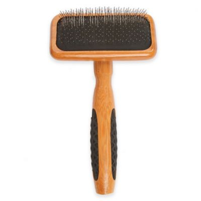 Bass Brushes De-matting with Alloy Pin & Bamboo Handle Slicker Style Pet Brush, Dark/ Stripped, Small