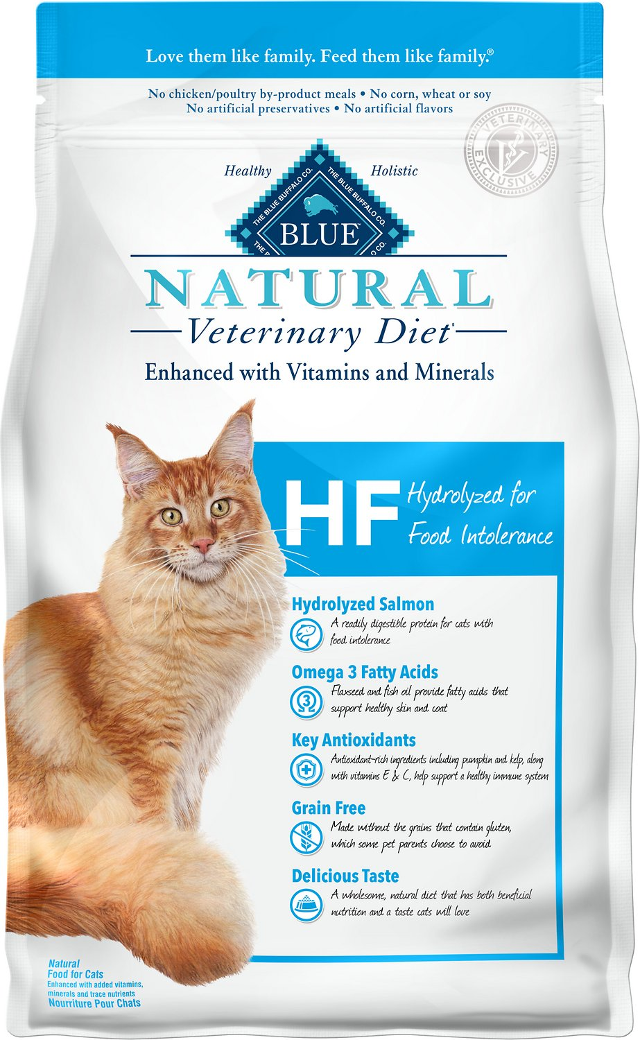 Blue Buffalo Natural Veterinary Diet HF Hydrolyzed for Food Intolerance Grain-Free Dry Cat Food, 7-lb
