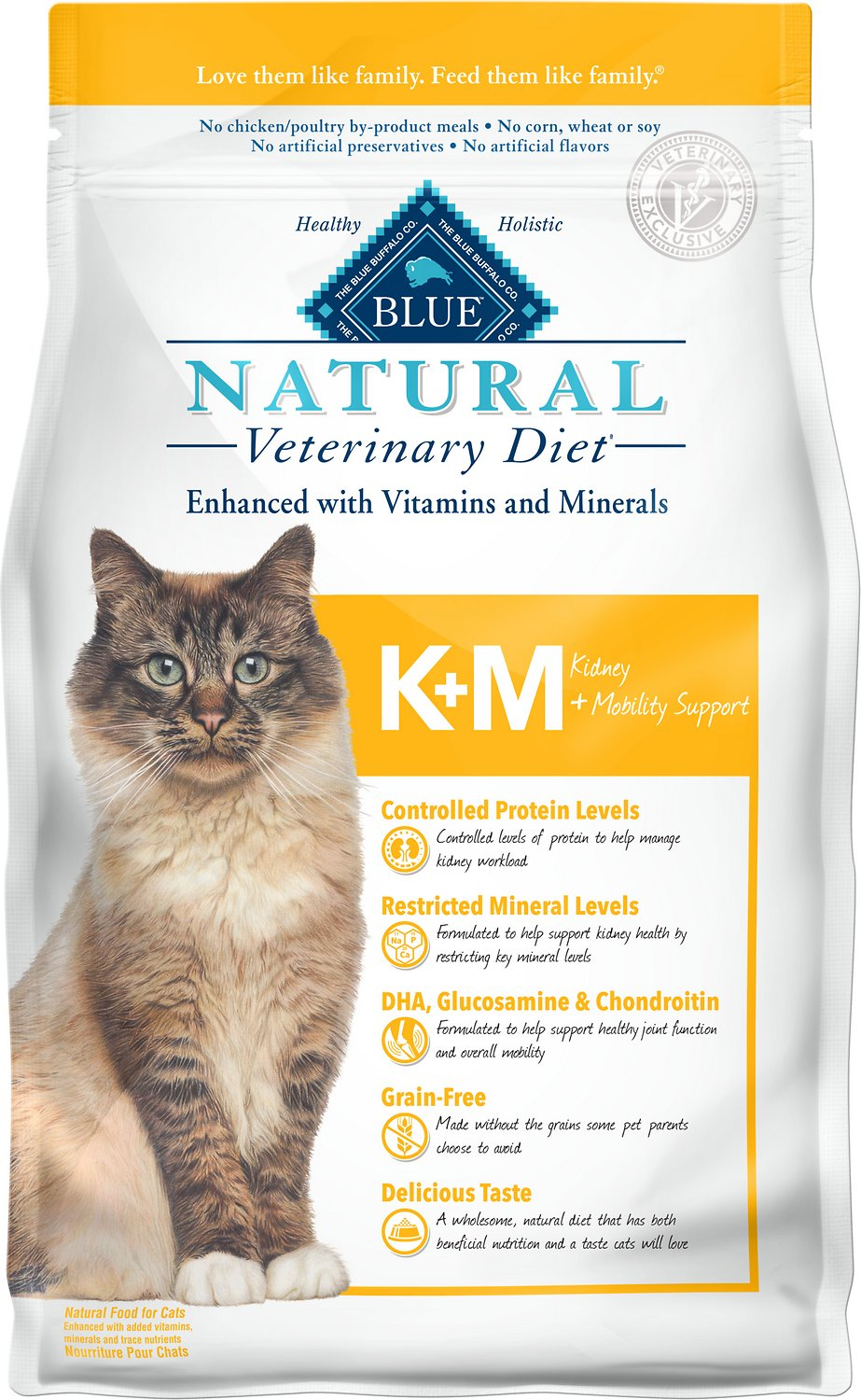 Blue Buffalo Natural Veterinary Diet K+M Kidney + Mobility Support Grain-Free Dry Cat Food, 7-lb