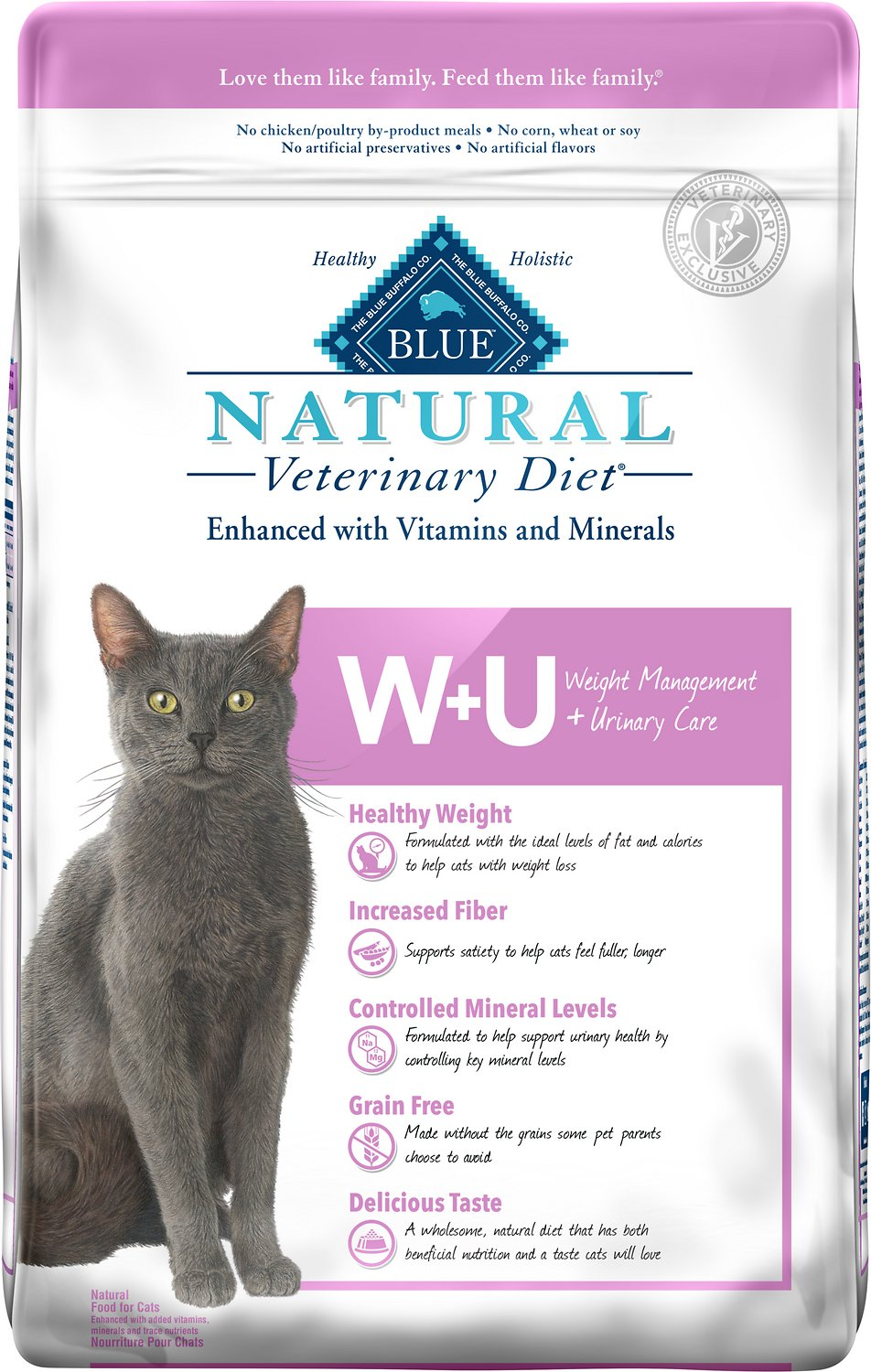 Blue Buffalo Natural Veterinary Diet W+U Weight Management + Urinary Care Grain-Free Dry Cat Food, 6.5-lb