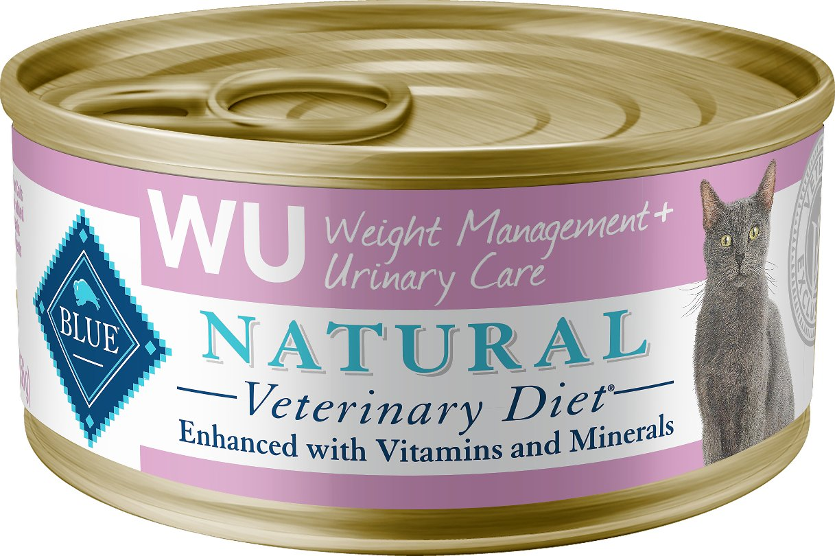 Blue Buffalo Natural Veterinary Diet W+U Weight Management + Urinary Care Grain-Free Canned Cat Food, 5.5-oz, case of 24