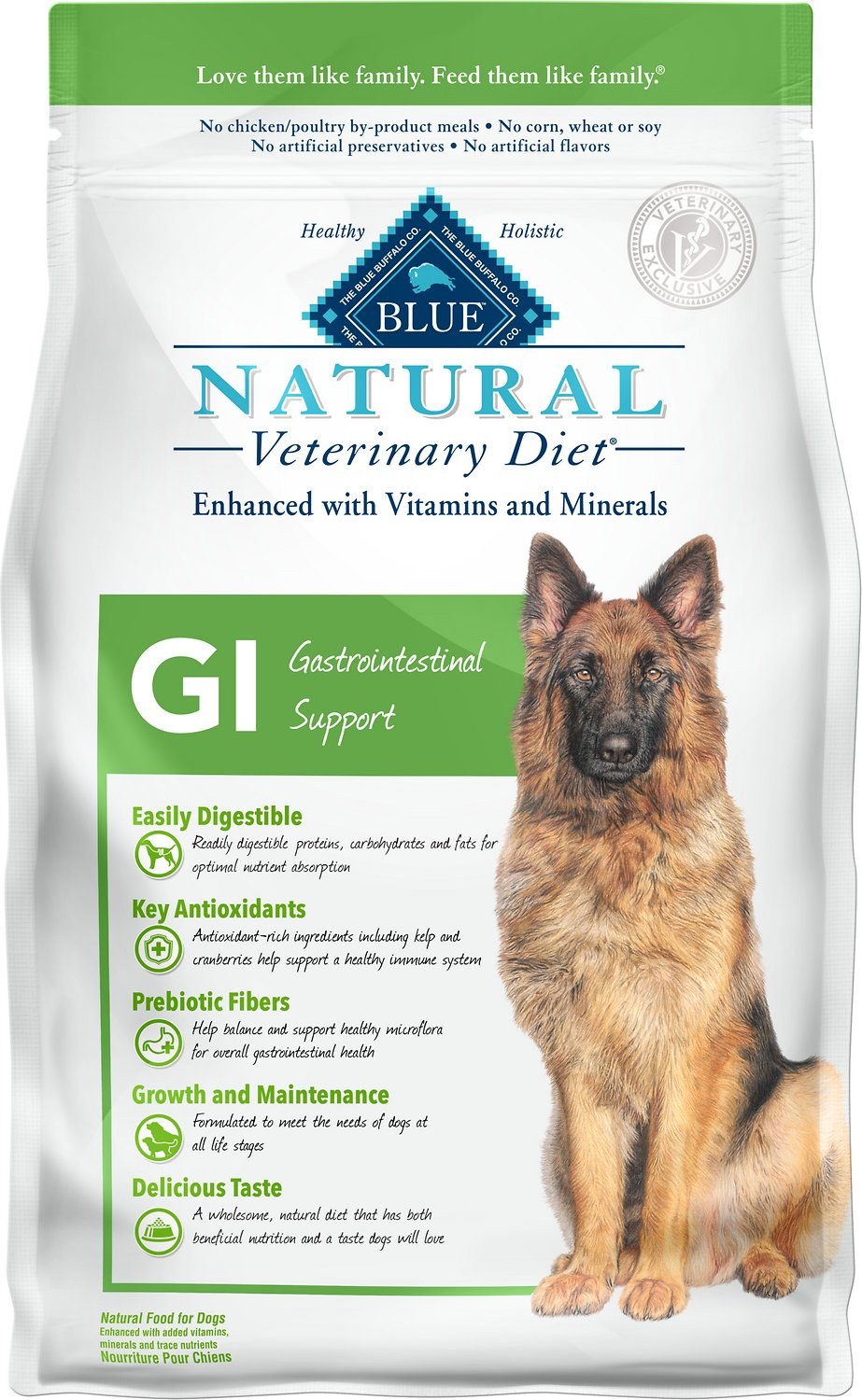 Blue Buffalo Natural Veterinary Diet GI Gastrointestinal Support Dry Dog Food, 6-lb