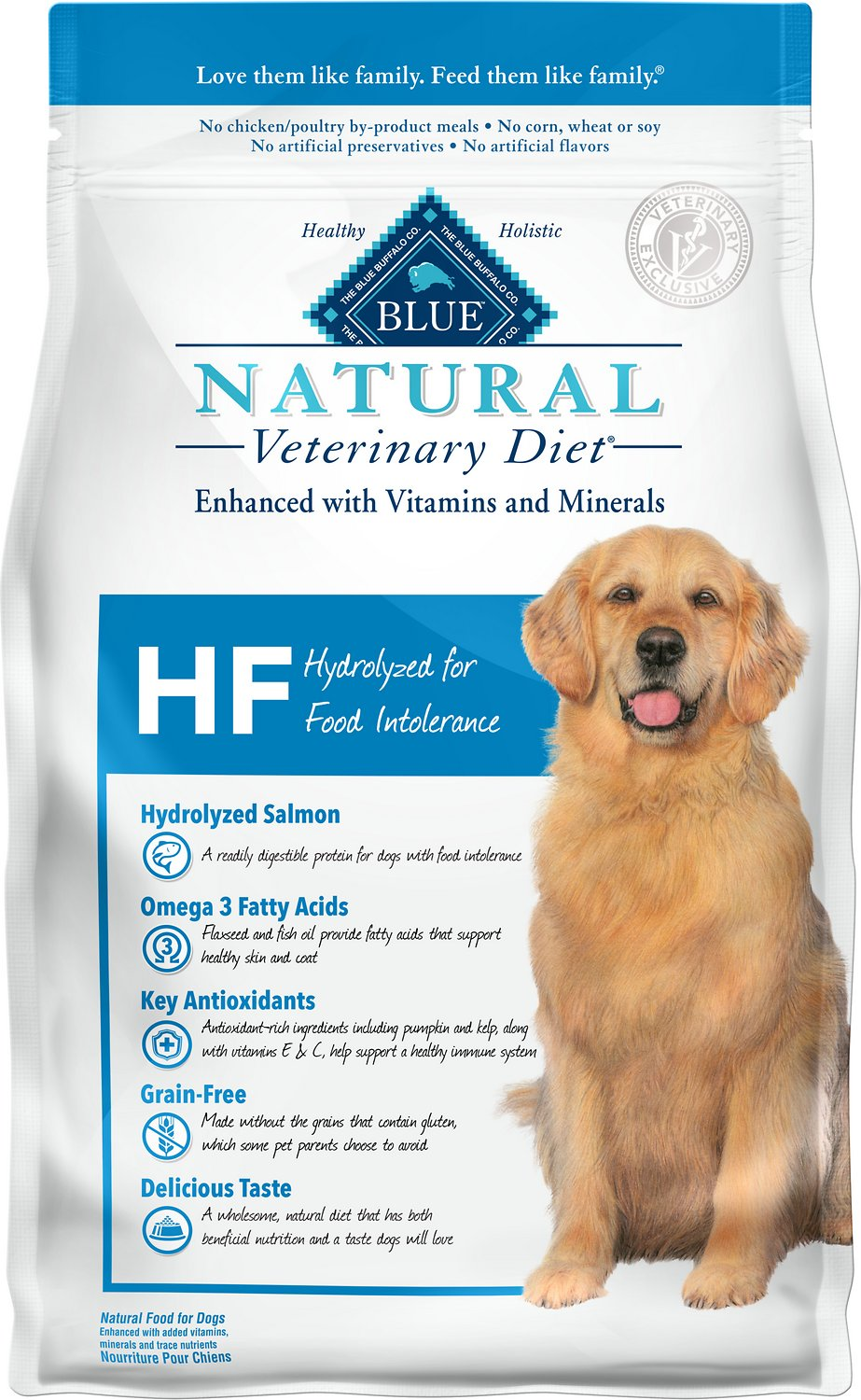 Blue Buffalo Natural Veterinary Diet HF Hydrolyzed for Food Intolerance Grain-Free Dry Dog Food, 6-lb