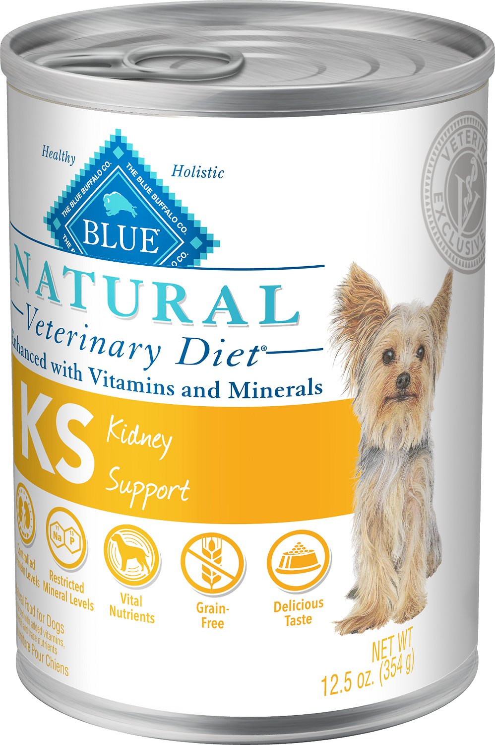 Blue Buffalo Natural Veterinary Diet KS Kidney Support Grain-Free Canned Dog Food, 12.5-oz, case of 12