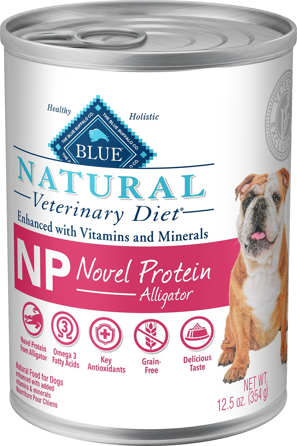 Blue Buffalo Natural Veterinary Diet NP Novel Protein Alligator Grain-Free Canned Dog Food, 12.5-oz