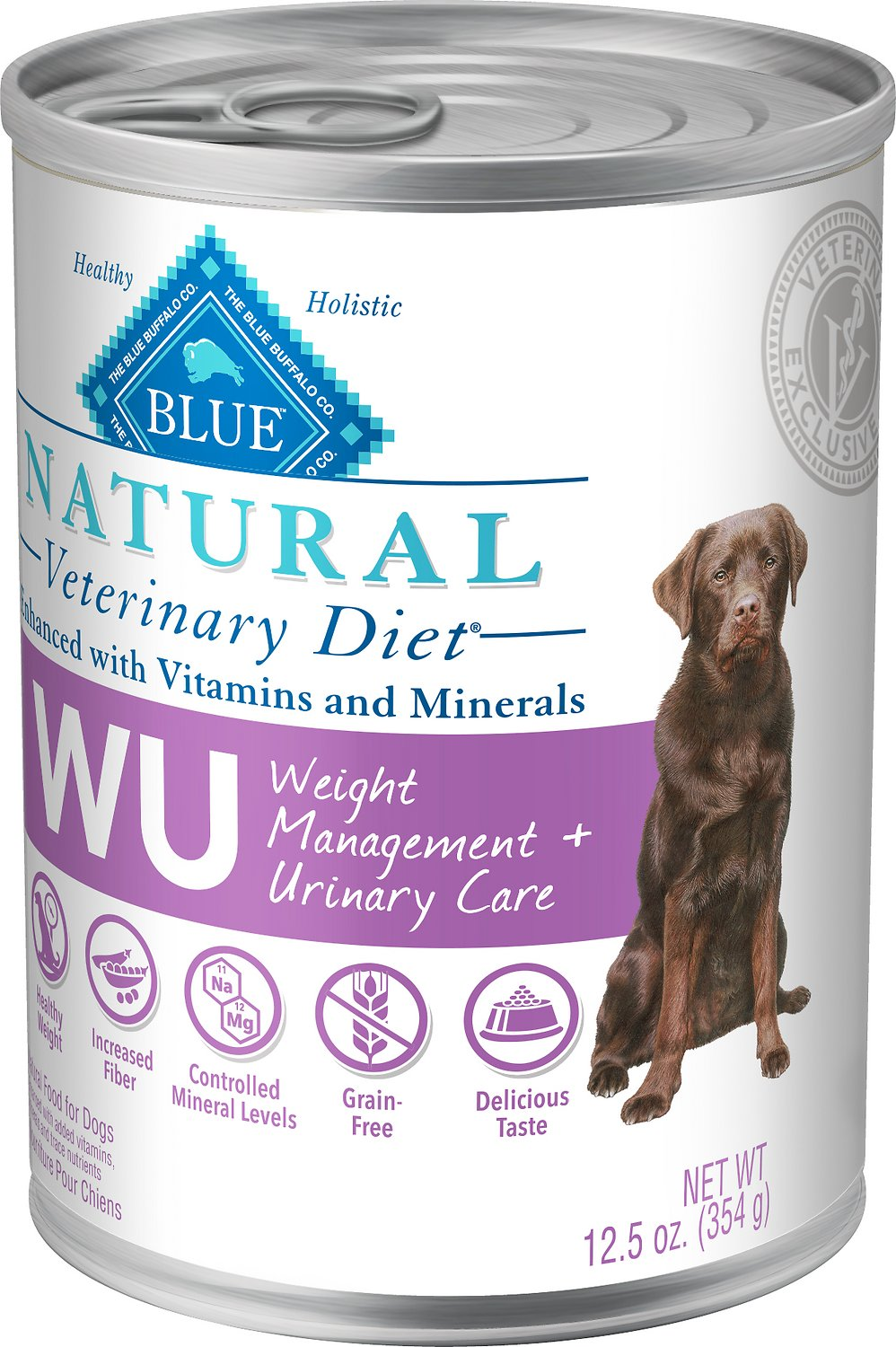 Blue Buffalo Natural Veterinary Diet W+U Weight Management + Urinary Care Grain-Free Canned Dog Food, 12.5-oz, case of 12