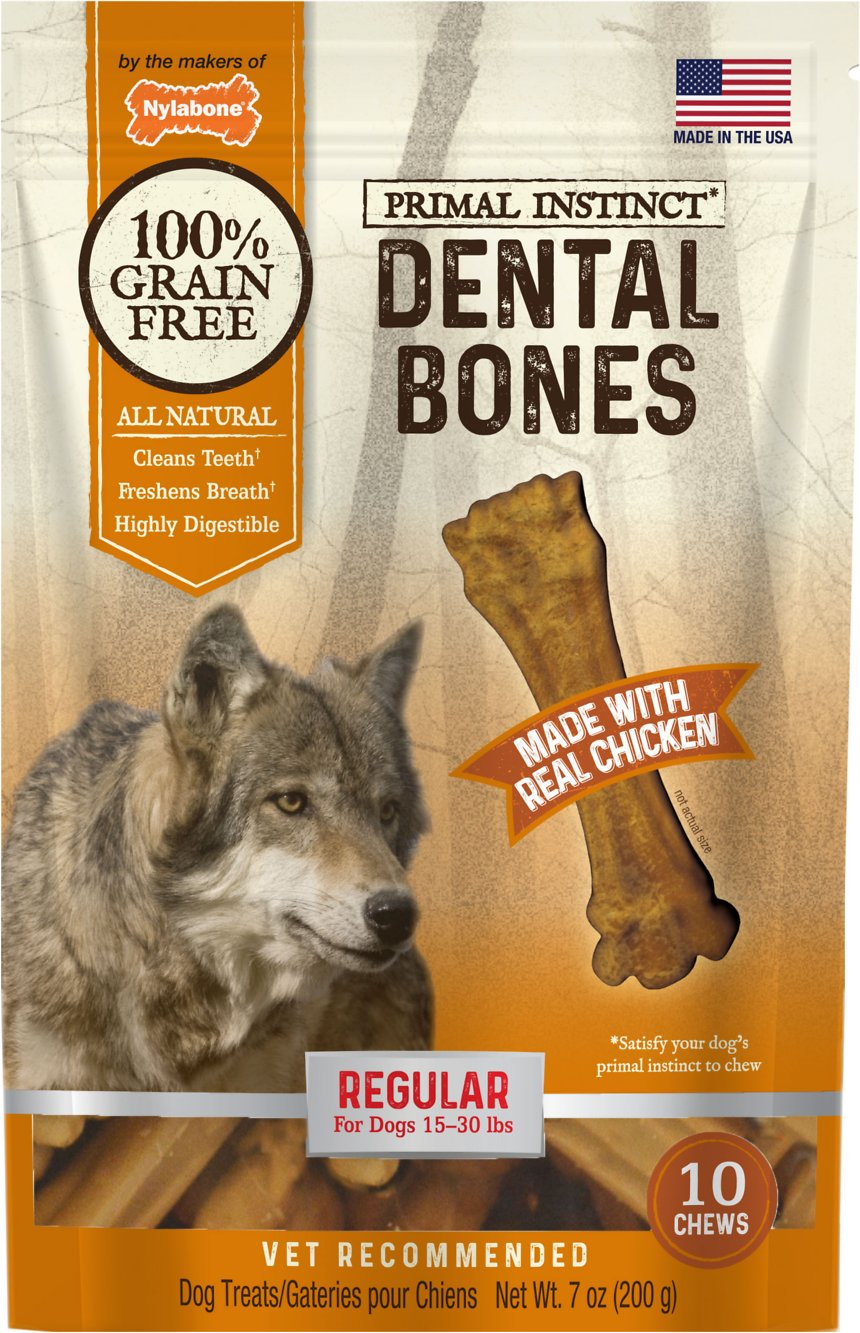 Nylabone Primal Instinct Regular Chicken Recipe Dental Bones Dog Treats, 10-count