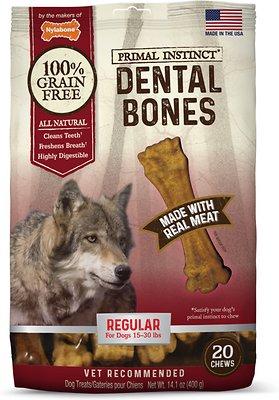 Nylabone Primal Instinct Regular Dental Bones Dog Treats, 20-count