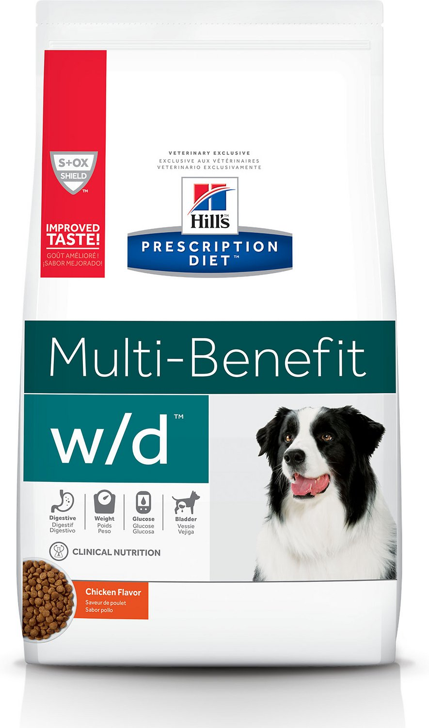 Hill's Prescription Diet w/d Multi-Benefit Digestive, Weight, Glucose, Urinary Management Chicken Flavor Dry Dog Food, 8.5-lb