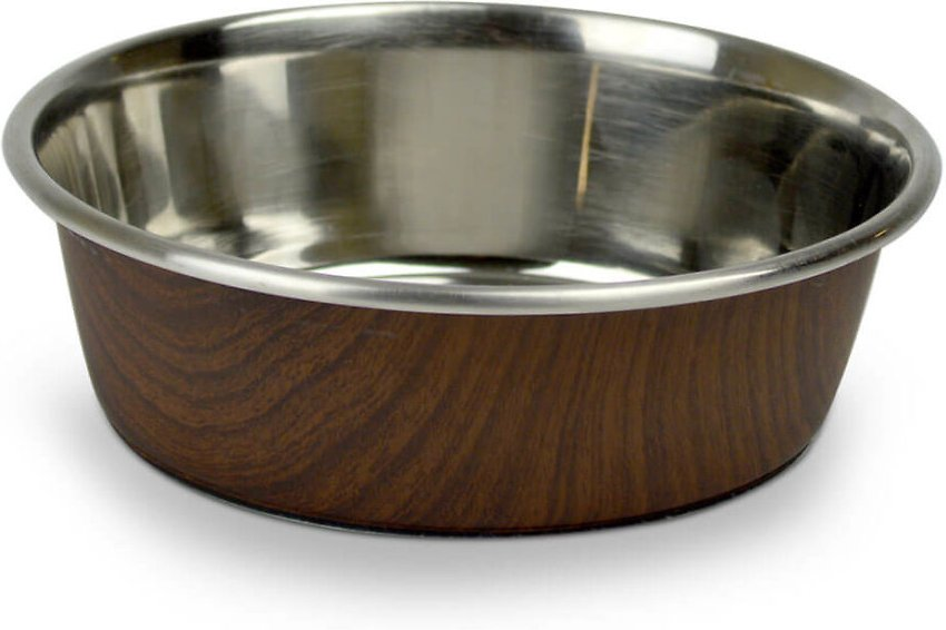 OurPets Durapet Woodgrain Dog & Cat Bowl, Dark Brown, 2.25-cup