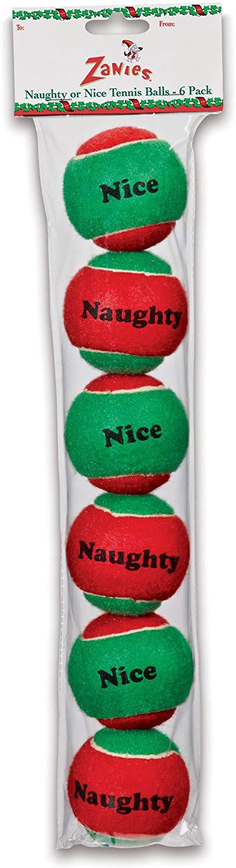 ZANIES Naughty or Nice Tennis Balls, 6 pack
