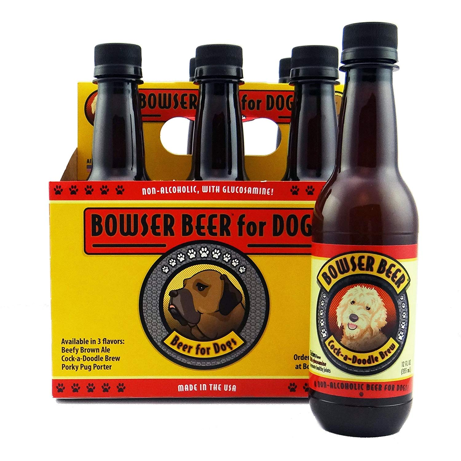 Bowser Beer Cock-a-Doodle Brew for Dogs, 6-pk