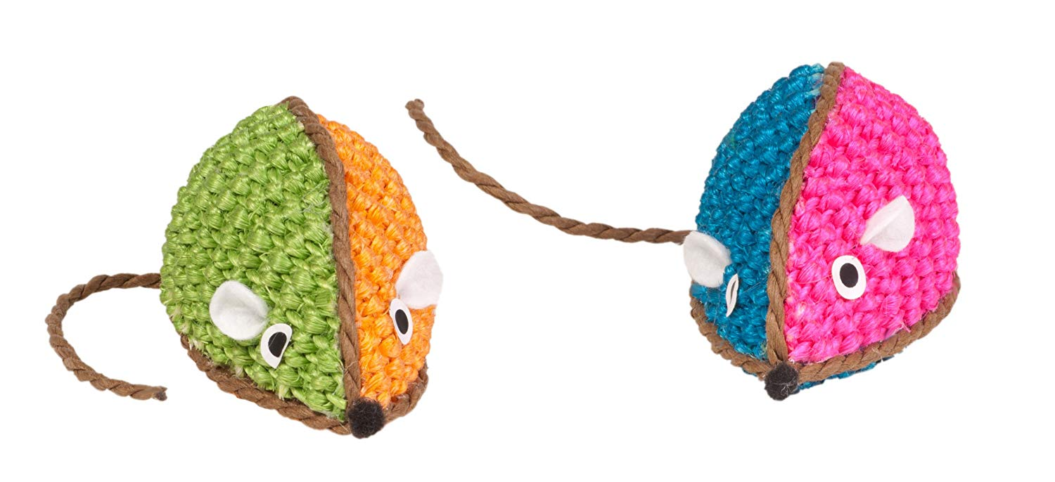 Boss Pet Chomper Kylie's Brites Two-Tone Raffia Mouse Cat Toy, Assorted Colors